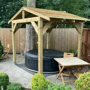 Wooden Gazebo 2.4m - Hot Tub Shelter, Timber Gazebo - Outdoor Garden Pergola