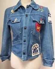 Hand Embroidered Patch XS Small Blue Denim Trucker Jacket Vtg 1980s Coat Hippie