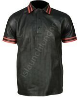 Men Hot Real Genuine Black Cowhide Polo Style Leather Shirt Bluff Gay ANY SIZE