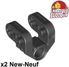 Lego technic - 2x pin connector perpendicular split noir/black 92907 NEUF