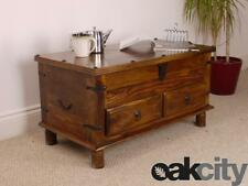 Maharajah Indian Rosewood 2 Drawer Coffee Table Trunk - Solid Wood Stained Waxed