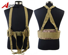 Molle Tactical Military Combat War Padded Waist Belt w/ Suspender Banshee Camo