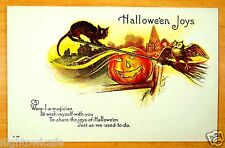rare Nash 48 HALLOWEEN JOYS Black Cat Owl Witch Broom Magician Vintage Postcard