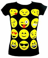 KIDS EMOJI SMILEY FACES SHORT SLEEVE T-SHIRTS TOPS GIRLS LEGGINGS  AGE NEW 7-13