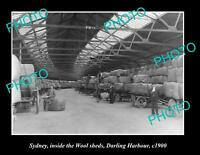 OLD POSTCARD SIZE PHOTO OF DARLING HARBOUR WOOL SHEDS SYDNEY NSW c1900