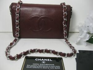 Authentic Chanel Burgundy Red Caviar Leather CC Logo Long Full Flap Bag Clutch