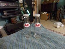 """Vintage PEPSI COLA Glass Bottle SALT & PEPPER SHAKER Set W/ Lids 4 1/4"""" VG !"""