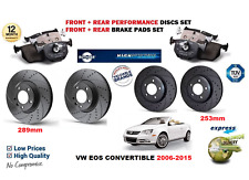 FOR VW EOS 2006-2015 FRONT REAR PERFORMANCE DRILLED BRAKE DISC SET + PAD KIT