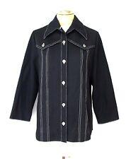 Vgc Vtg 70s Black Textured Polyester Western Leisure Top Blouse Stitch Trim M/L