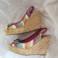 [COACH] Watercolor Wedge Heels Sandals w Bow & Woven Details size 9.5 M