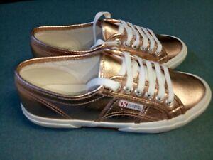 Superga 2750 Cotmetu Womens Canvas Rose Gold Low Top Shoes  Size EU37