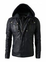 New Men's Motorcycle Brando Style Biker Real Leather Hoodie Jacket