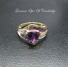 9K Gold 9ct gold Amethyst and Diamond Ring Size M 1/2 US Size 6 1/2 2.9g