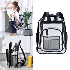 1 See Through Clear Backpack Transparent Bag Sports Travel College Black