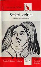 HONORÉ DE BALZAC SCRITTI CRITICI. A CURA DI MARIO BONFANTINI FELTRINELLI 1958