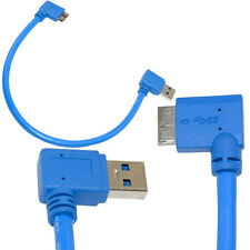 USB3.0 A Male 90 Degree Right Angle to Micro B Plug Left Angle Short Cable 30cm