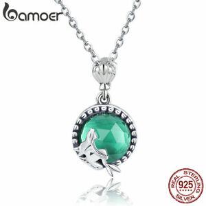 BAMOER New 925 Sterling Silver Women Necklace Mermaid love & Green Glass Jewelry