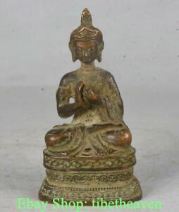 """4"""" Old Tibetan Red Bronze Buddhism Shakyamuni Amitabha Buddha Sculpture"""
