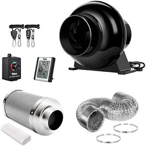 4'' Inline Fan Carbon Filter Ventilation Ducting Combo w/Controller Rope Hanger