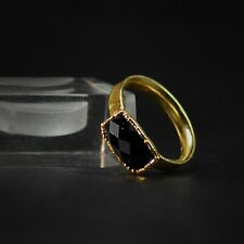 Natural Cut Black Onyx Gemstone Solitaire Stackable Women Fashion Ring Jewelry