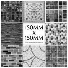 Mosaic Tile Stickers Transfers Kitchen Black Grey Marble Effect 150mm