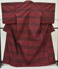 =Japanese Vintage Kimono / silk / Women 62.5inc./ Red OshimaTsumugi 3nfuji29020