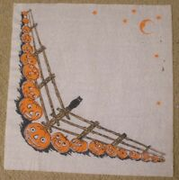 Vintage Halloween Crepe Paper Napkin JOLS Jack-O'-Lantern Along Fence Row