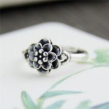 New Vintage Sterling S925 Silver Ring Women Girl Lucky Flower Ring US5.5-8.5