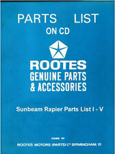 Sunbeam Rapier Parts List Manual I - V Part no. 6601222