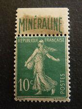 France 1924  TIMBRE SEMEUSE 10c vert BANDE PUBL. MINERALINE