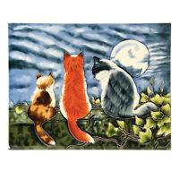 """Cat Whispers Art Tile - Decorative Ceramic Tile Wall Art Easel Back, 12"""" x 8"""""""