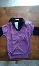lot pull femme sans manche violet et chemise noire neuf