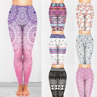 Womens Printed Yoga Leggings Fitness Sports  Exercise Workout Full Length Pants