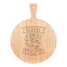 Vorsicht Crazy Cookie Mädchen Pizza Board Paddel Holz Witz Tochter Kinder
