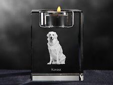 Kuvasz, crystal candlestick with dog, souvenir, Crystal Animals Usa