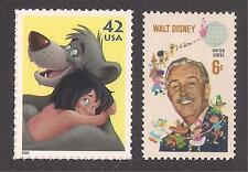 THE JUNGLE BOOK + 1968 WALT DISNEY - 2 U.S. POSTAGE STAMPS - MINT CONDITION