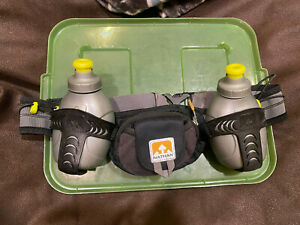 Nathan Men's Black and Grey Hydration Running Belt with 2 Bottles, Excellent!