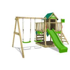 FATMOOSE Spielturm Klettergerüst JazzyJungle - Spielhaus mit apfelgrüner Rutsche
