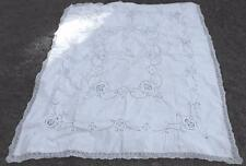"VINTAGE WHT COT DINNER CLOTH W/ITALIAN NEEDLE LACE INSERTS, FILET TRIM, 70""X88"""