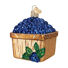 """""""Basket of Blueberries"""" (28102) Old World Christmas Glass Ornament w/ OWC Box"""