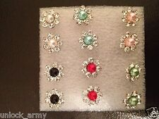 The Flower Swarovski Crystal Bling Handmade Stud Earrings Mix Colors 6 Pairs A14