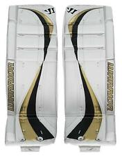 """New Warrior Swagger Int goalie pads white/gold 29""""+1 ice hockey goal leg pad"""