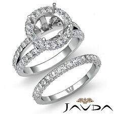 Pave Diamond Engagement Ring Bridal Set 14k Gold White Round Semi Mount 2.28Ct