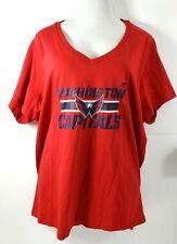 Women Washington Capitals T-Shirt Majestic NHL V-Neck Size 4X Red SS New NWT