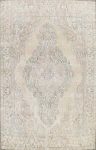 Semi-Antique Muted Tebriz Area Rug Distressed Hand-knotted Evenly Low Pile 10x13