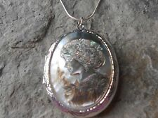 GENUINE MOTHER OF PEARL, SHELL VICTORIAN WOMAN PORTRAIT CAMEO LOCKET - QUALITY