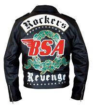 BSA Rockers Revenge Music Band Black Biker Rocky Leather Jacket All Sizes