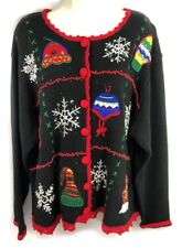Nutcracker embroidered appliqué embellished ugly Christmas cardigan sweater 1X