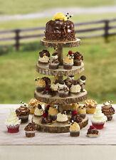 Slice Wood Cupcake Holder, Classic Durable Rustic Dessert Display Stand Brown