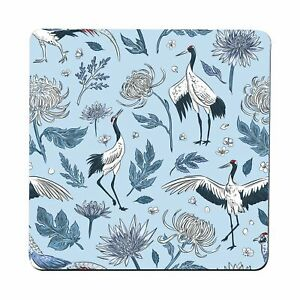 Crane birds flowers pattern illustration design coaster drink mat